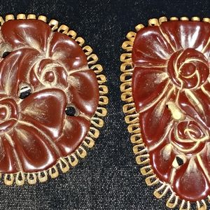 Lovely Brown Bakelite Clip and Brooch Set
